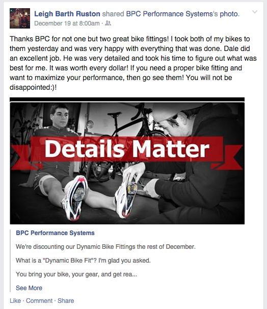 Bike Fit testimonial
