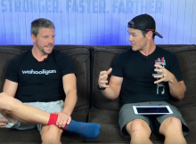Triathlon Coach and a Pro Triathlete sitting on a couch