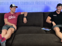 Triathlon Coach and a Cycling Coach sitting on a couch