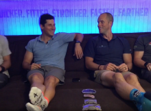 Triathlon Coach and a Cycling Coach sitting on a couch with two mountain bikers